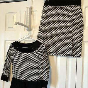 Sweater top and skirt set
